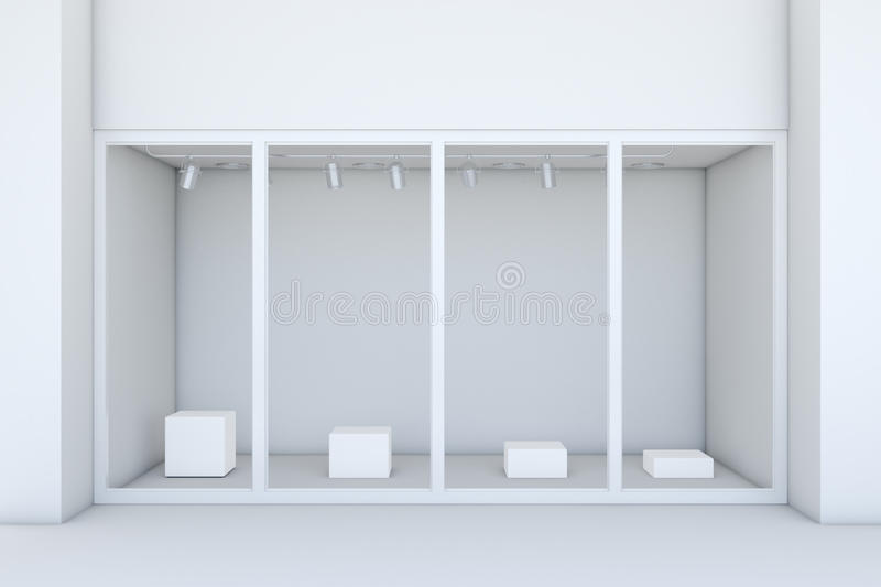 Shopfront with large windows. White store facade. 3d rendering vector illustration