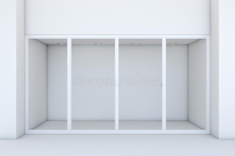 Shopfront with large windows. White store facade. 3d rendering royalty free illustration