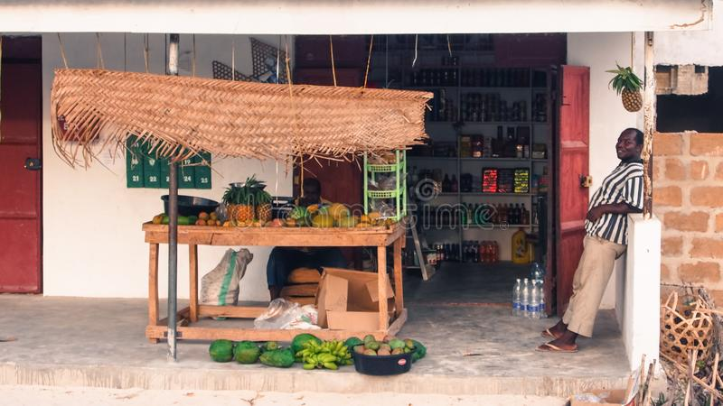 Shopfront of mini market and fruit shop in Jambiani, Zanzibar royalty free stock image