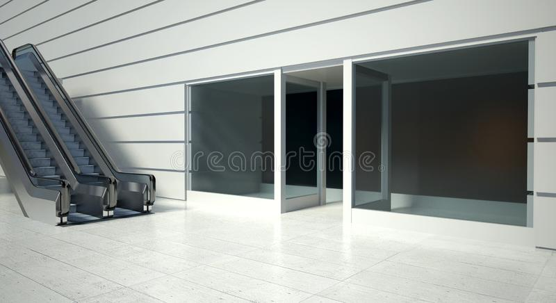 Shopfront and modern moving escalator stairs. Shopfront windows and modern moving escalator stairs stock illustration