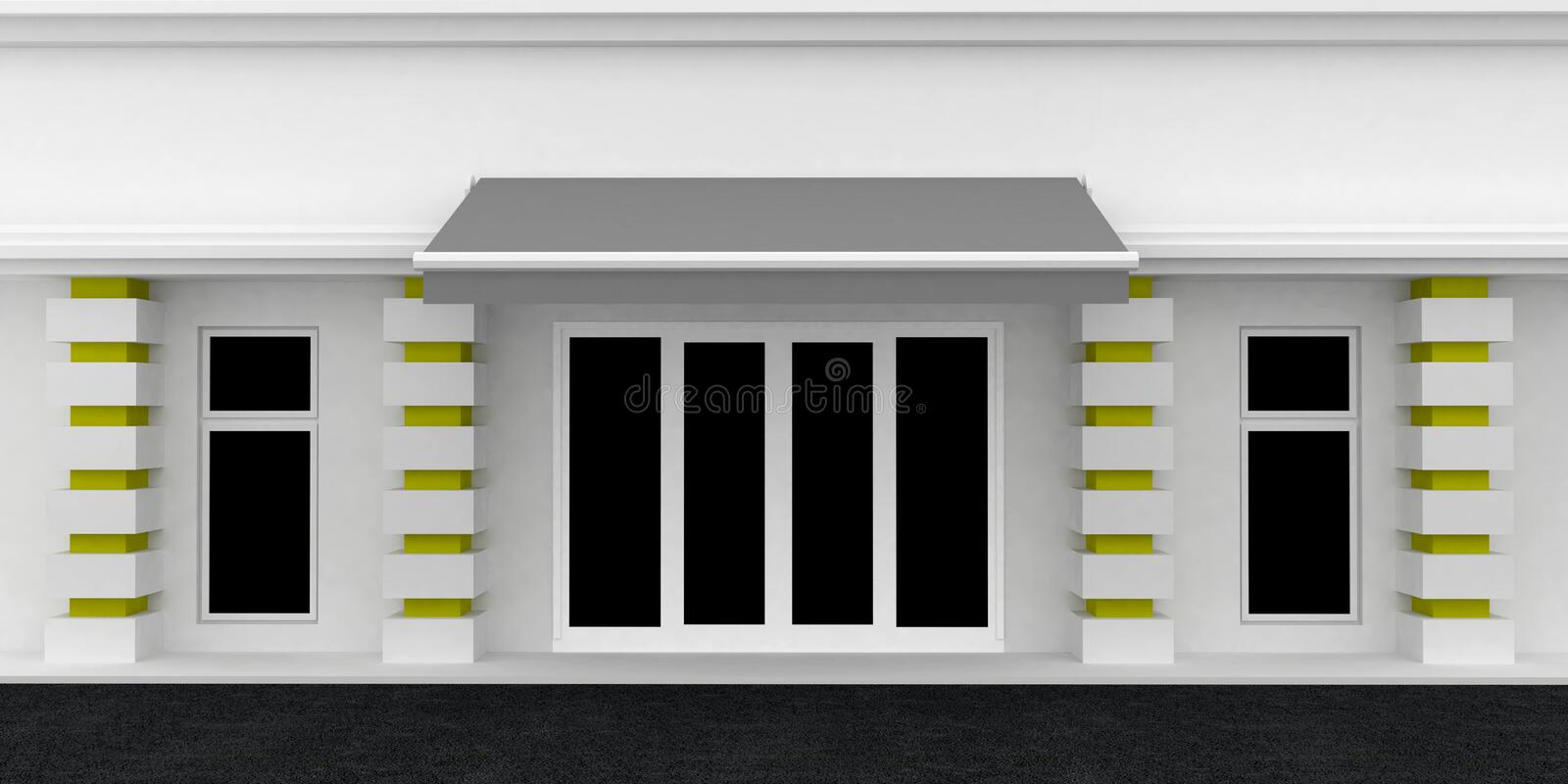 Shopfront. Serie. Shopfront. White Gray building exterior shopwindow with awning and windows empty for your product presentation, paste your shop, boutique royalty free illustration