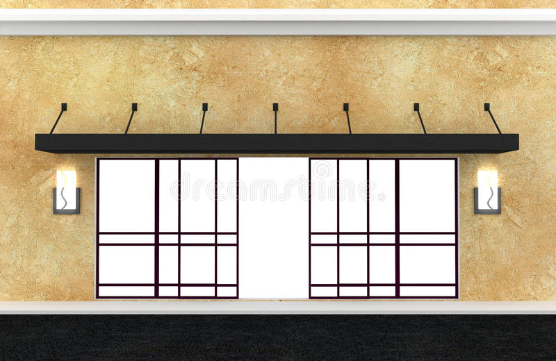 Shopfront. Series. Building exterior shopwindow with sliding doors, hanger awning and windows empty for your product presentation. This shop front is created vector illustration