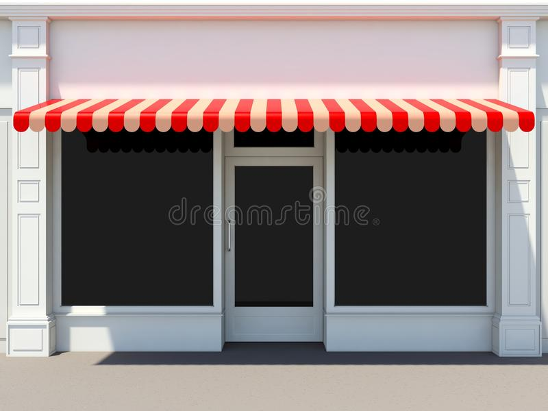 Shopfront. In the sun - classic store front with red awnings royalty free illustration