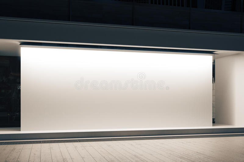 Shopfront with white banner. Empty glass shopfront with blank white banner at night. Retail concept. Mock up, 3D Rendering vector illustration