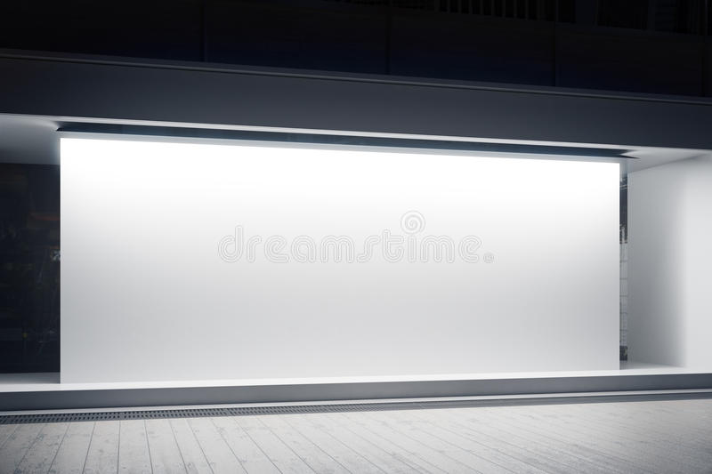 Shopfront with white billboard. Empty glass shopfront with blank white billboard at night. Retail concept. Mock up, 3D Rendering vector illustration
