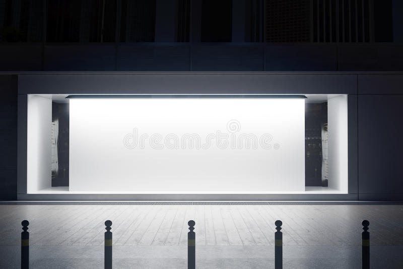 Shopfront with white canvas. Empty glass shopfront with white canvas at night. Retail concept. Mock up, 3D Rendering vector illustration