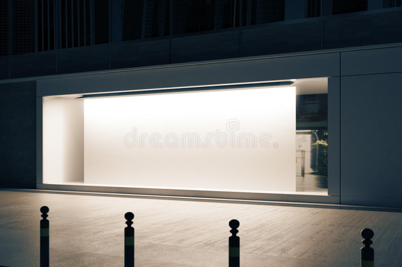 Shopfront with white poster side. Side view of empty glass shopfront with blank white poster at night. Retail concept. Mock up, 3D Rendering stock illustration