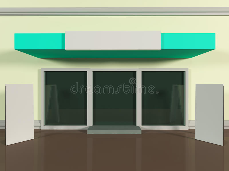 Shopfront with windows. And signboard colorful store royalty free illustration
