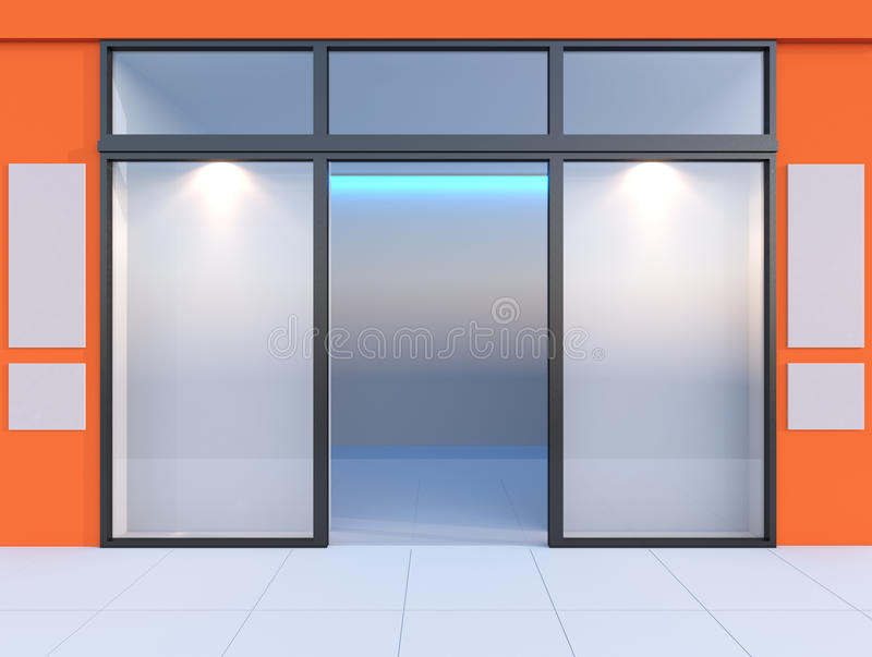 Shopfront with windows. And signboard Orange store vector illustration