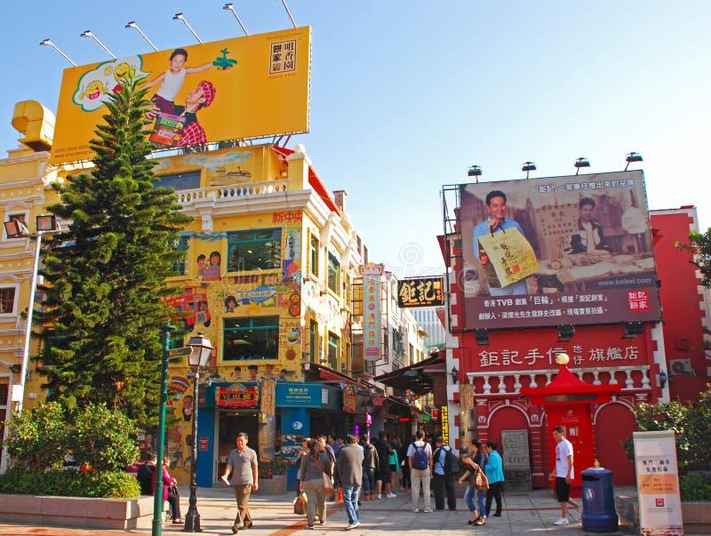 Shophouses bei Rua DA Cunha, der Snack und Andenken verkauft stockfotos