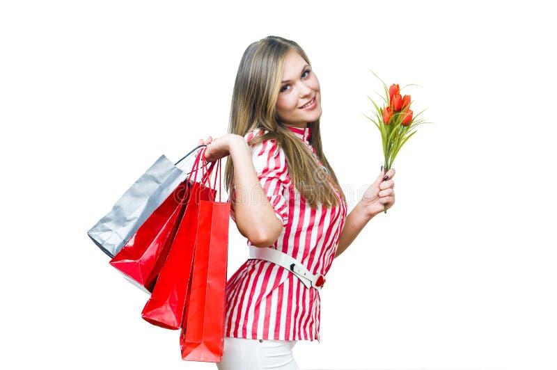 Shopiing = Geluk royalty-vrije stock afbeelding