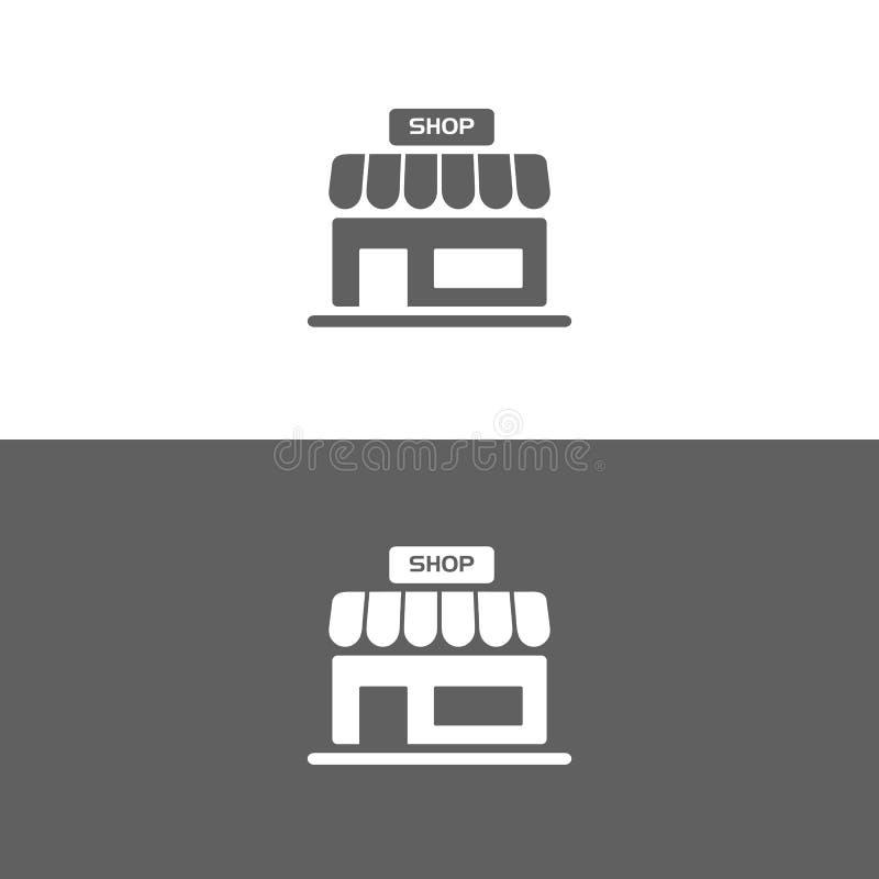 Shopikone auf den weißen und dunklen Hintergründen vektor abbildung