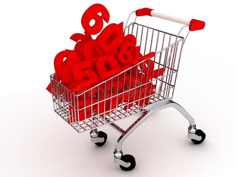 Shoping cart over white