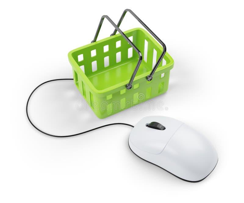 Shoping fura i komputer mysz ilustracja wektor