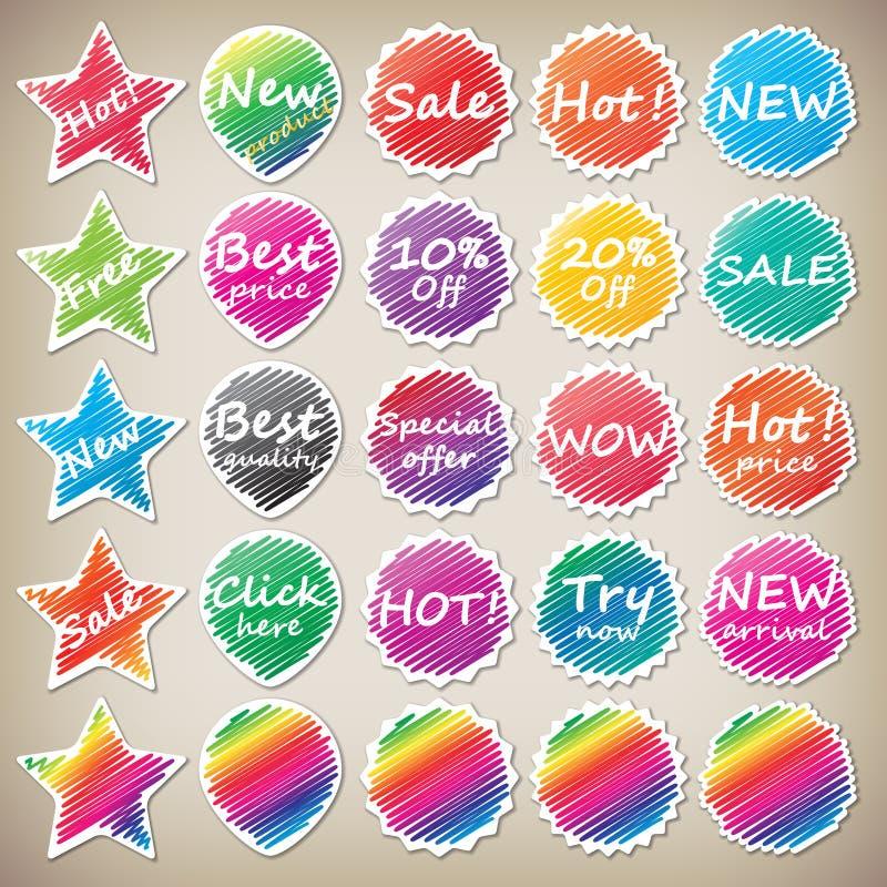 Shoping klistermärkear vektor illustrationer