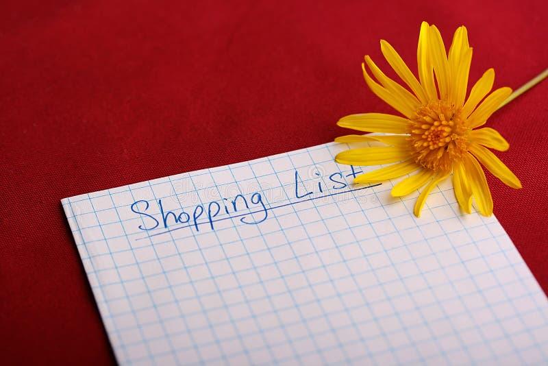 Shoping Liste lizenzfreie stockbilder
