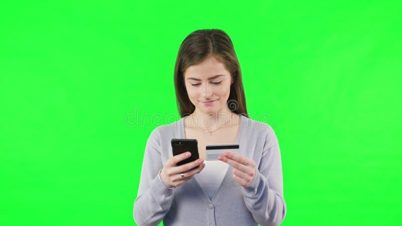 Shoping online con le carte assegni fotografia stock