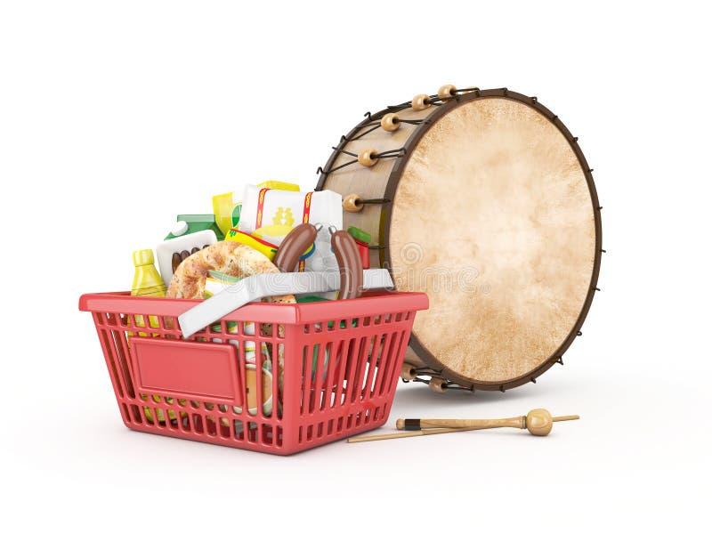 Shopingbasket和赖买丹月鼓 免版税库存照片