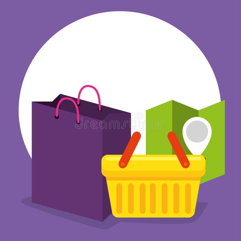 Shopings online mand met plaats en verkoop royalty-vrije illustratie
