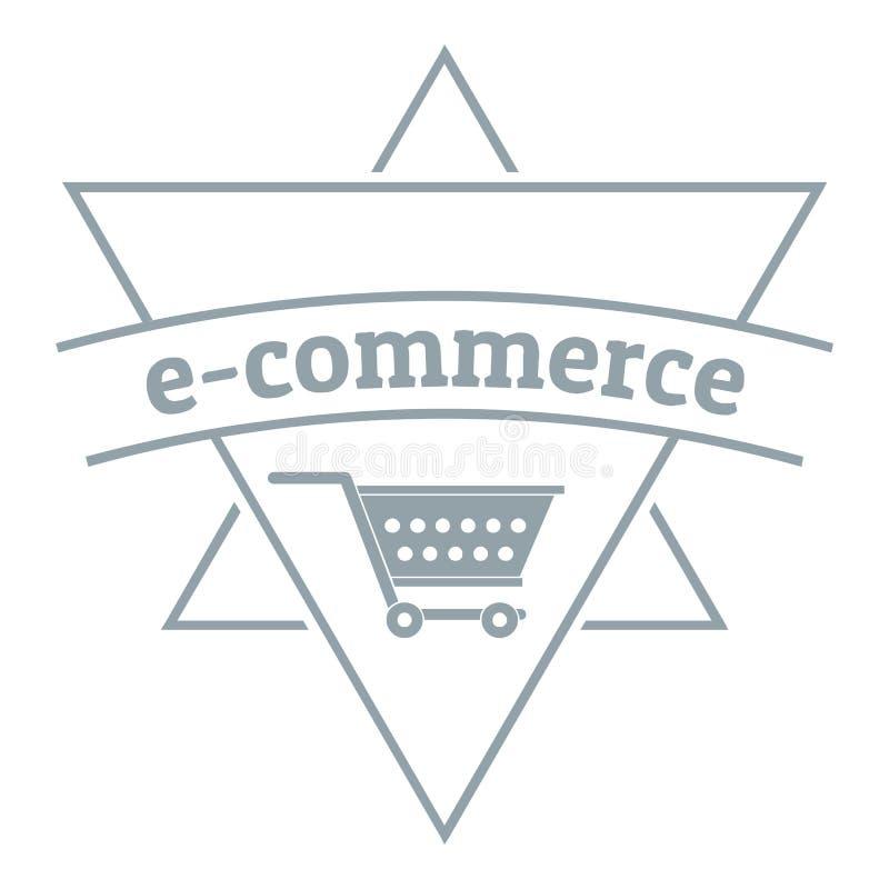Shoplogo des elektronischen Geschäftsverkehrs, einfache graue Art vektor abbildung