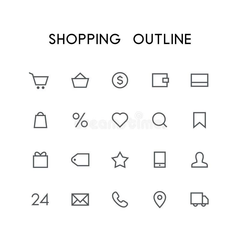 Shoppa översiktssymbolsuppsättningen royaltyfri illustrationer