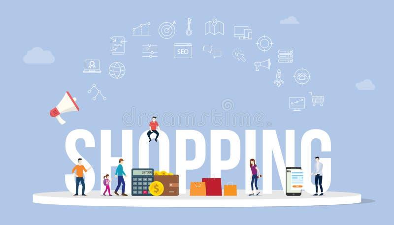 Shoppa affärsidé med den stora ordstil och symbolen med någon pengarbetalning och folk med modern stil - vektor royaltyfri illustrationer