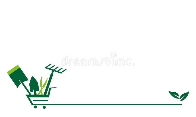 Shoppa att arbeta i trädgården direktanslutet stock illustrationer