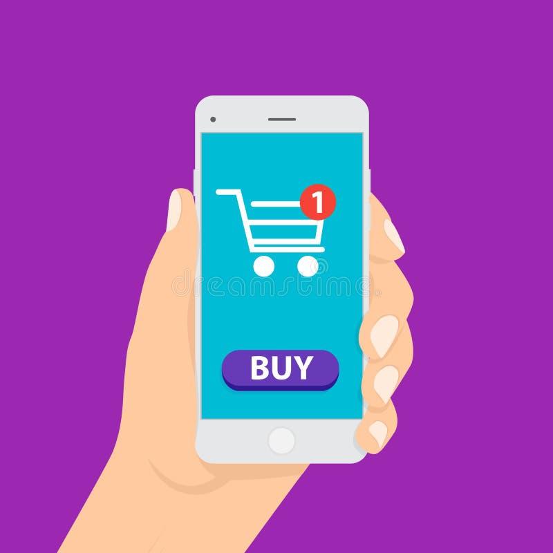 Shoppa begreppsmässig plan stil för online-affär Begrepp av den mobila marknadsföringen och e-komrets vektor illustrationer