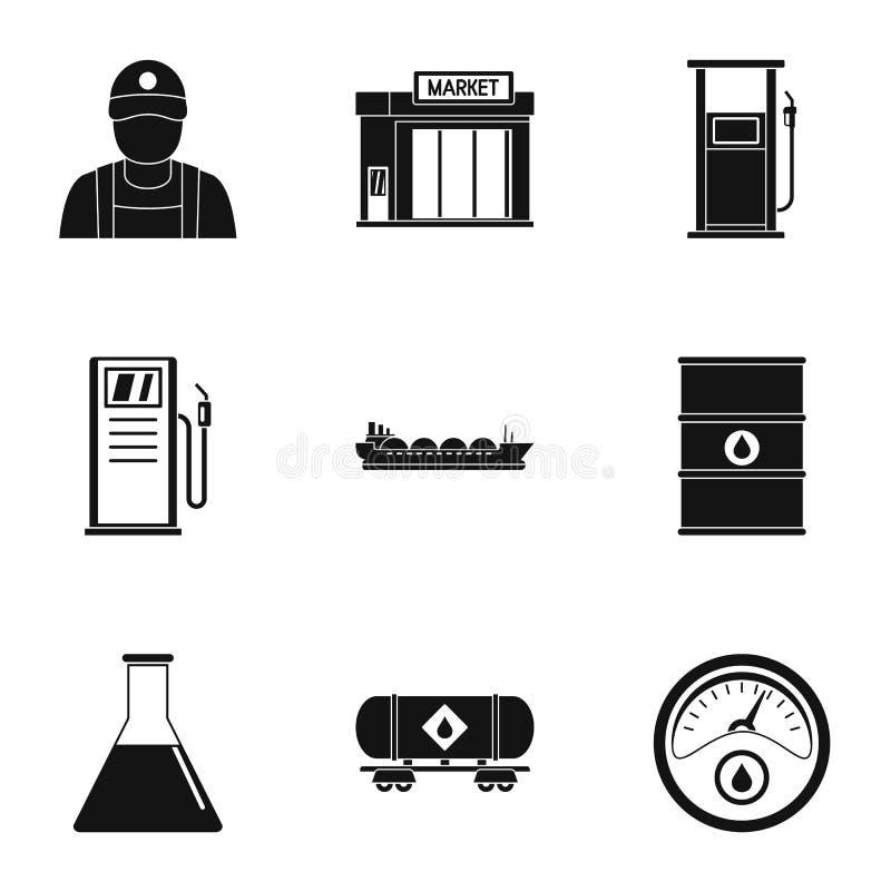 Shoppa bensinsymbolsuppsättningen, enkel stil vektor illustrationer