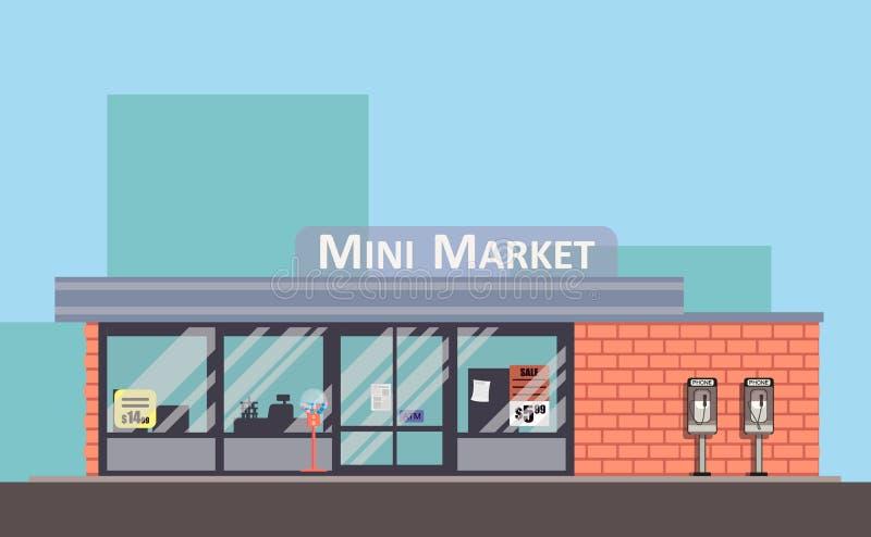Shoppa den färgrika vektorfasaden Mini- marknadslägenhetbegrepp royaltyfri fotografi