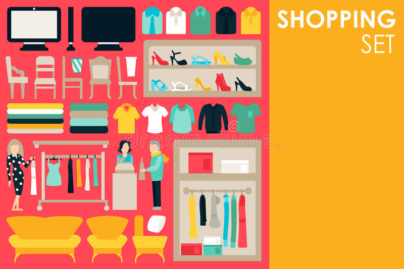 Shoppa den stora samlingen i plant designbakgrundsbegrepp Infographic beståndsdeluppsättning med galleriapersonalkläder och royaltyfri illustrationer