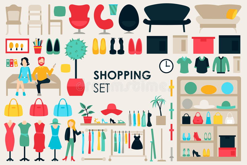 Shoppa den stora samlingen i plant designbakgrundsbegrepp Infographic beståndsdeluppsättning med galleriapersonalkläder och stock illustrationer