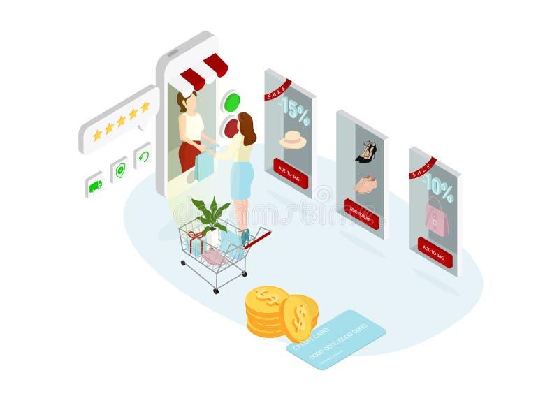 Shoppa direktanslutet begreppet vektor illustrationer
