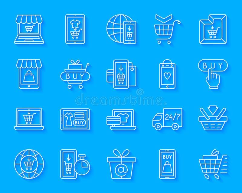 Shoppa direktanslutet den enkla uppsättningen för vektorn för papperssnittsymboler vektor illustrationer