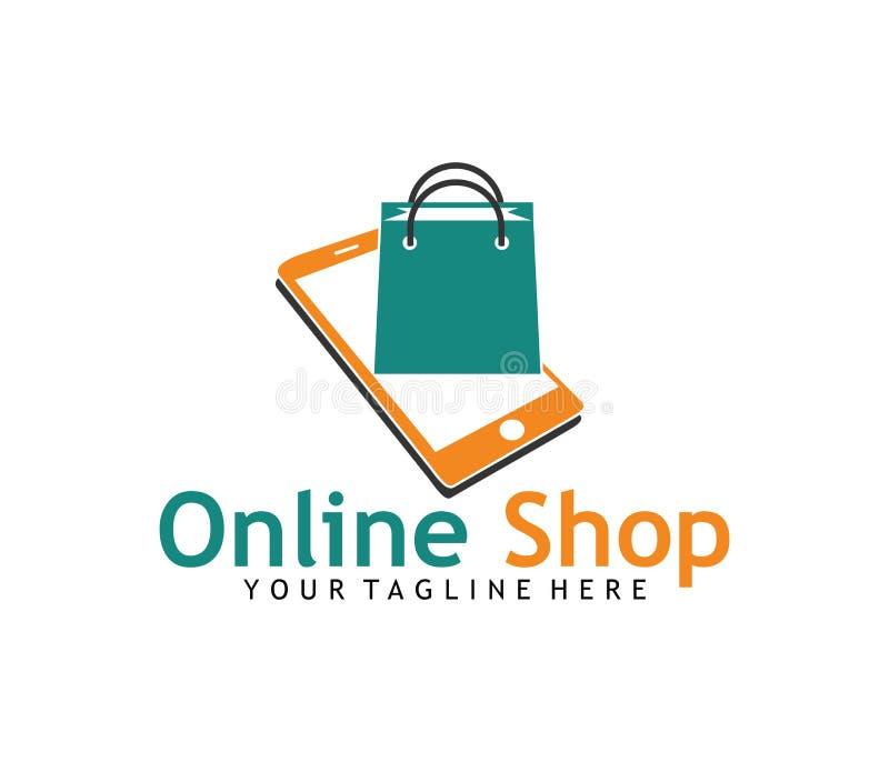 Shoppa direktanslutet designen för logoen för vektorn för påsen för applikationsymbolsshopping stock illustrationer