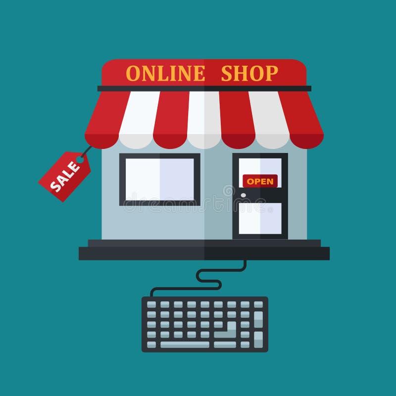Shoppa direktanslutet försäljningsbegreppet royaltyfri illustrationer