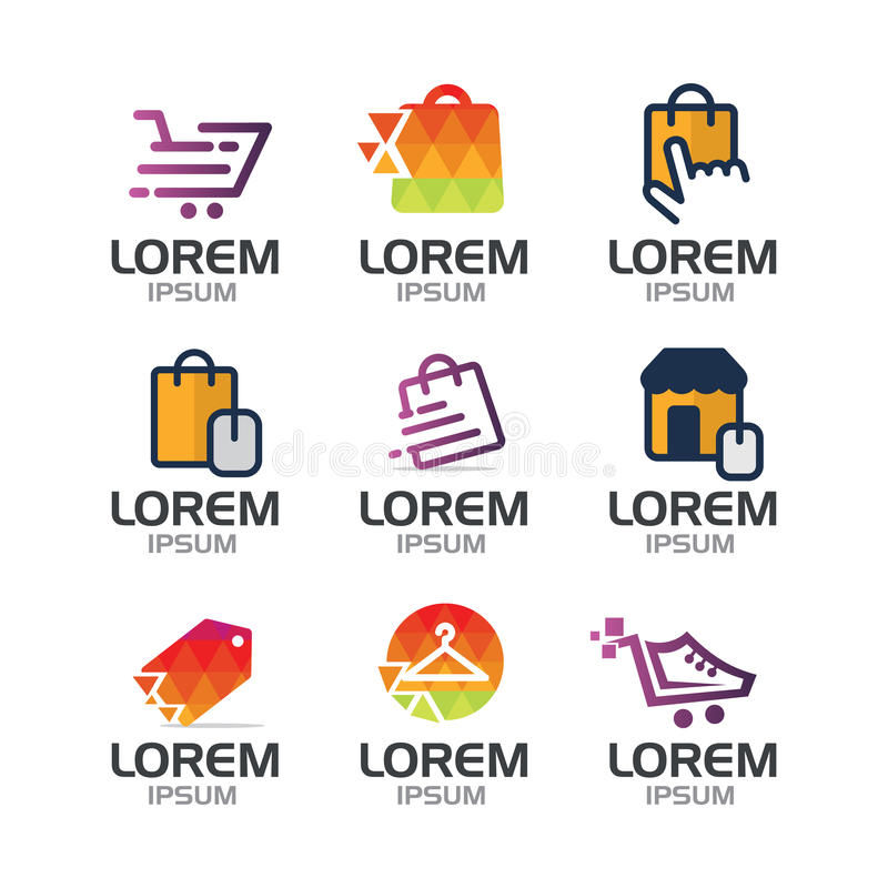 Shoppa direktanslutet Logo Set royaltyfri illustrationer