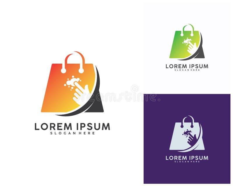 Shoppa direktanslutet logodesigner mallen, vektorillustration stock illustrationer