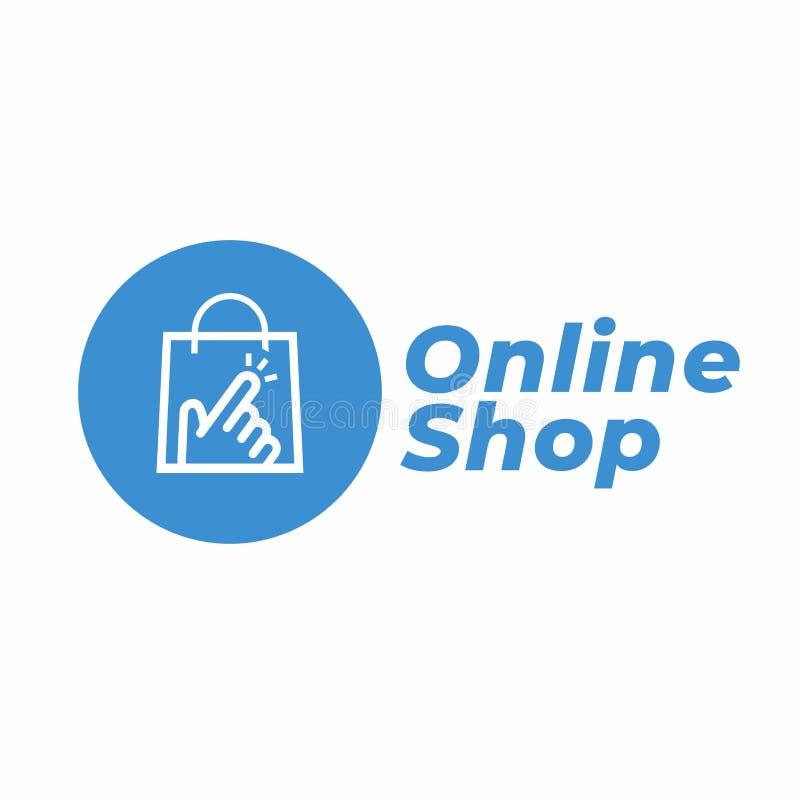 Shoppa direktanslutet logodesignmallen vektor illustrationer