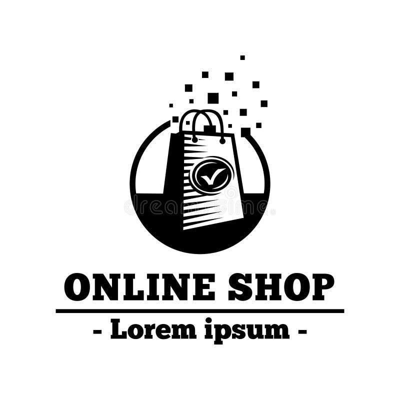 Shoppa direktanslutet logodesignmallen Logo f?r shoppingp?se Vektor och illustration stock illustrationer