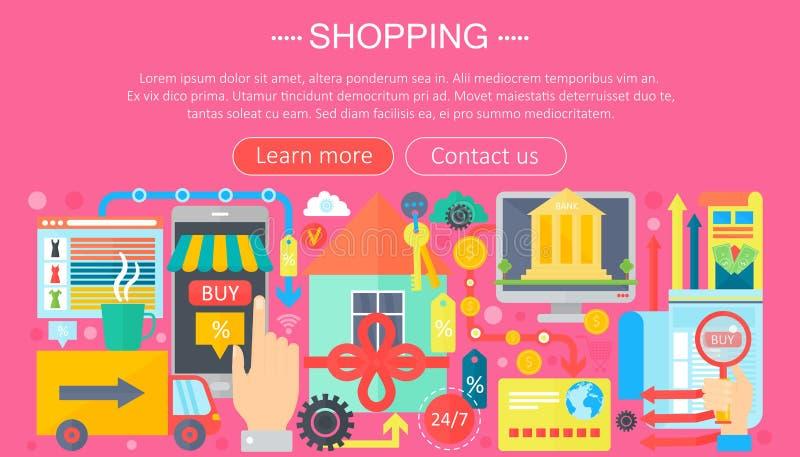 Shoppa direktanslutet och E-kommers shoppingbegrepp Online-design för mall för e-kommersinfographics, rengöringsduktitelradshoppi royaltyfri illustrationer