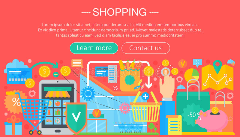 Shoppa direktanslutet och E-kommers shoppingbegrepp Online-design för mall för e-kommersinfographics, rengöringsduktitelradshoppi vektor illustrationer