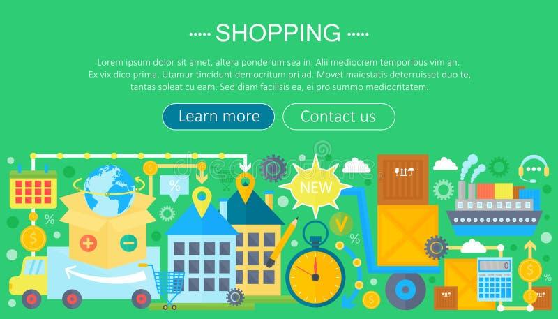 Shoppa direktanslutet och E-kommers shoppingbegrepp Online-design för mall för e-kommersinfographics, rengöringsduktitelradshoppi stock illustrationer