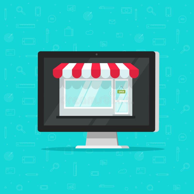 Shoppa direktanslutet på datorvektorillustrationen, e-komrets lagret, internet shoppar, den plana tecknad filmbärbara datorn som  stock illustrationer