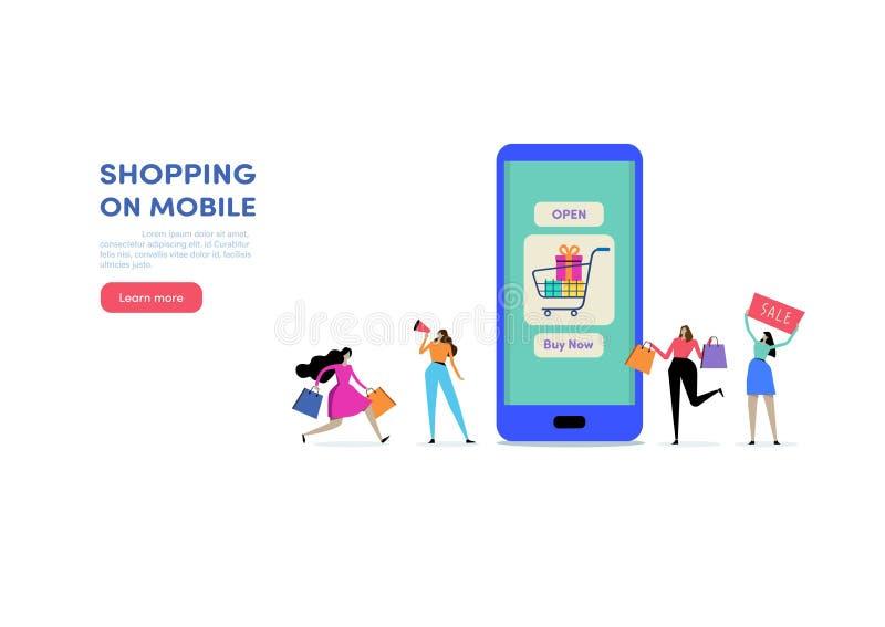 Shoppa direktanslutet via Smartphone Shoppa på mobil E-kommers Consumerism, detaljhandel, Sale Folkvektorillustration Plan teckna royaltyfri illustrationer