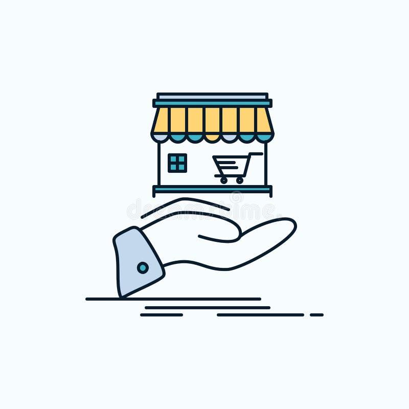 shoppa, donera, shopping som är online-, plan symbol för hand gr?nt och gult tecken och symboler f?r website och mobil appliation royaltyfri illustrationer