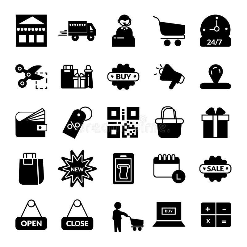 shoppa E-kommers vektorsymbol royaltyfri illustrationer