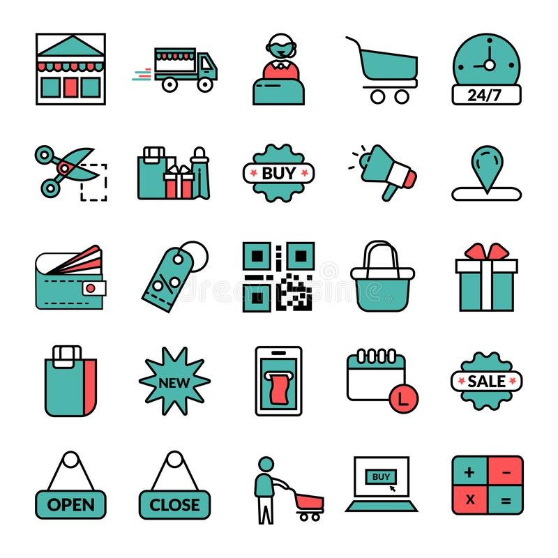 shoppa E-kommers vektorsymbol vektor illustrationer