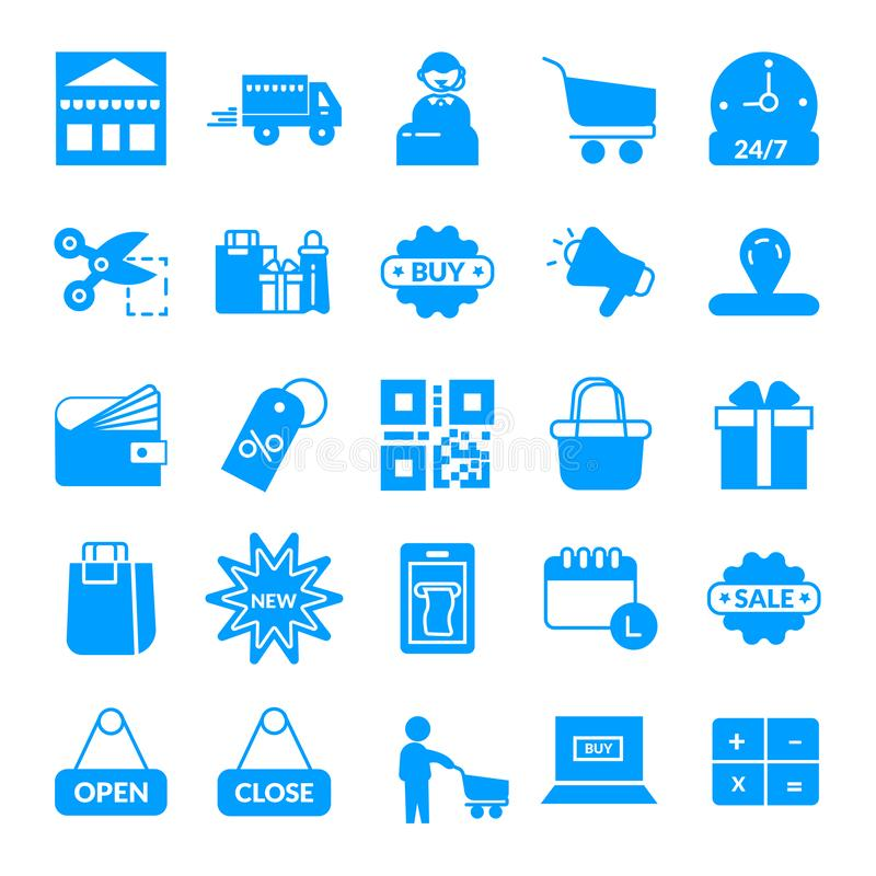 shoppa E-kommers vektorsymbol stock illustrationer