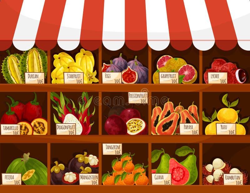Shoppa eller marknadsföra exotiska frukter för vektorställningsskärm stock illustrationer